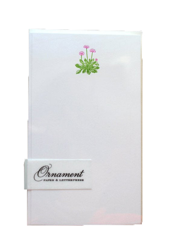 Ornament Letterpress Flowering Plant Flat Card Set