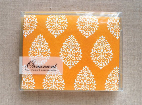 Ornament Letterpress Orange Indian Branches Folded Cards