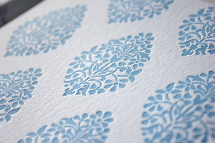 Ornament Letterpress Blue Indian Branches Folded Cards