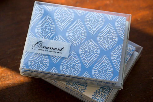 Ornament Letterpress Periwinkle Paisley Folded Cards