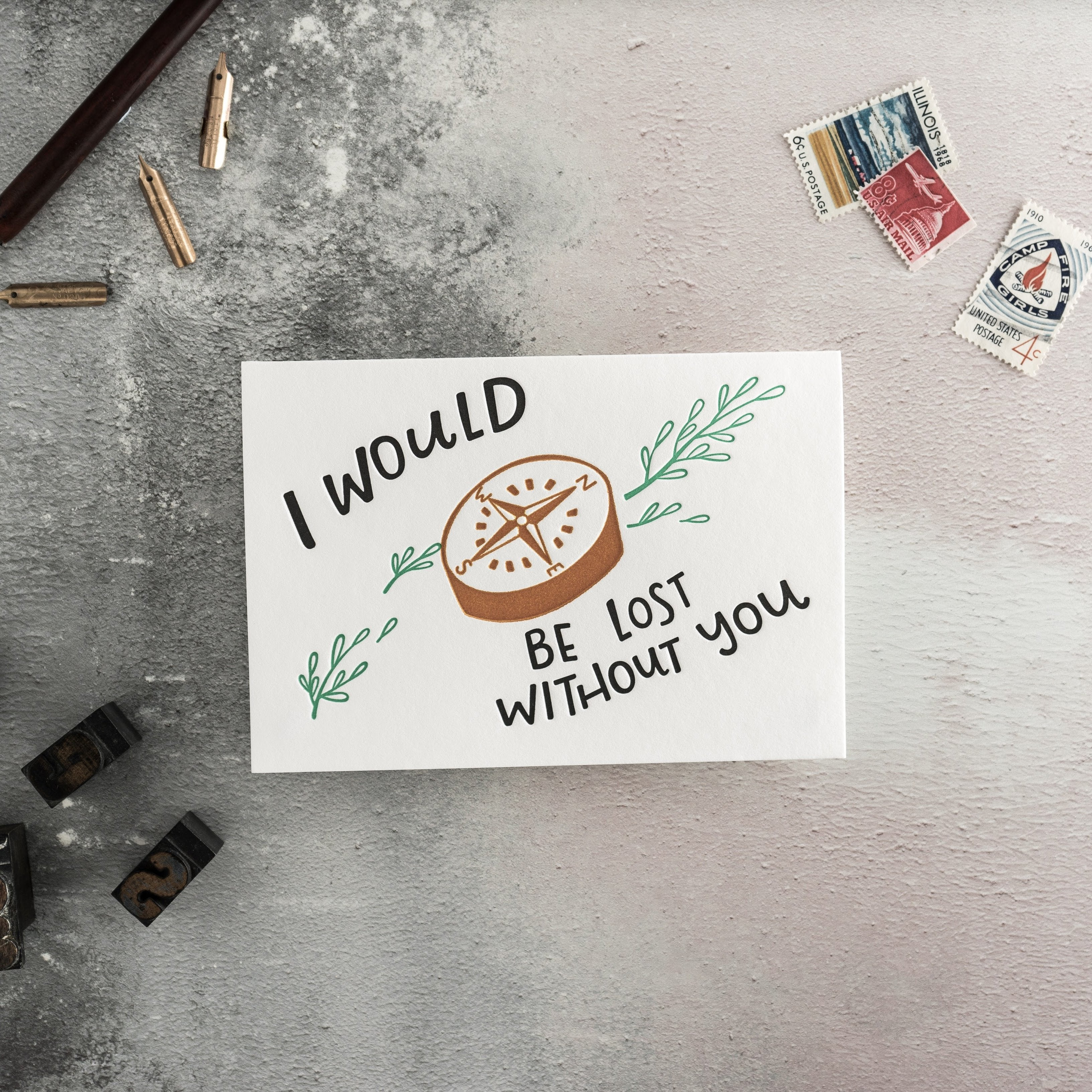 "Hunter Paper Co. ""I Would Be Lost Without You"" Letterpress Card"