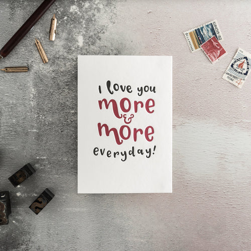 "Hunter Paper Co. ""Love You More"" Letterpress Wedding Card"