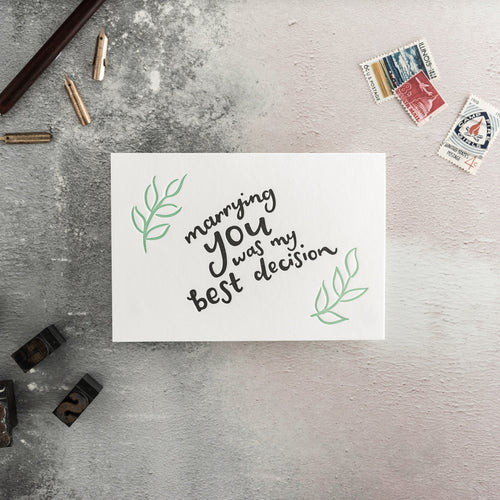 "Hunter Paper Co. ""Marrying You Was The Best Decision"" Letterpress Wedding Card"