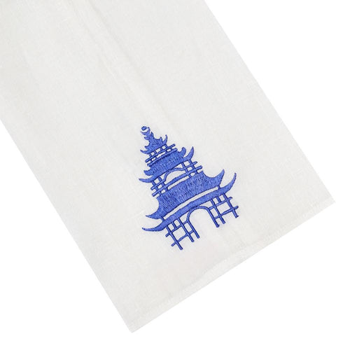 Haute Home Pagoda Tipped Linen Guest Towel- Blue