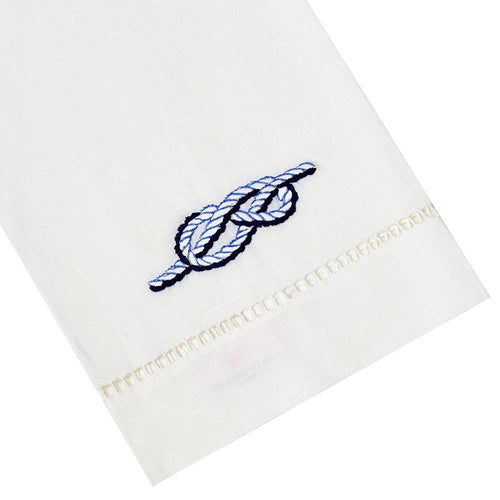 Haute Home Rope Tipped Linen Guest Towel- Blue