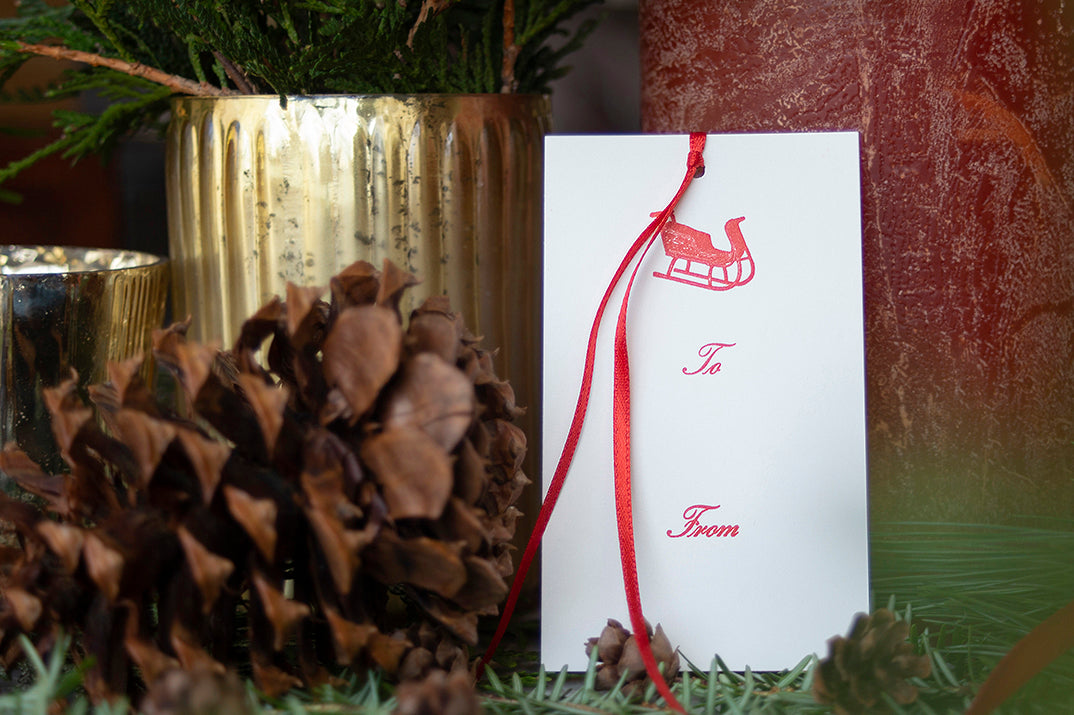Ornament Letterpress Gift Tags- Set of 6- Sleigh