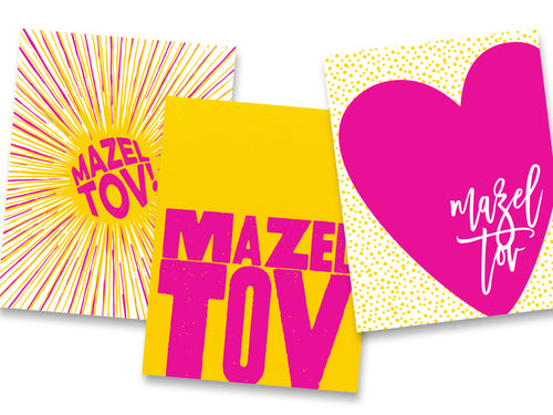 Spinpin Creative Pink and Yellow Mitzvah Cards, Set of 3