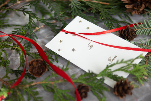 Ornament Letterpress Gift Tags- Set of 6- Stars