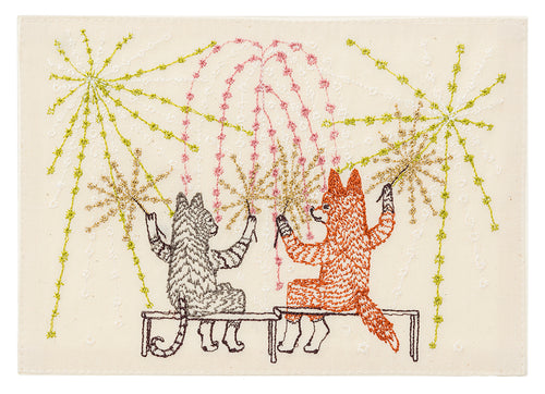 Coral and Tusk Summer Celebration Embroidered Card