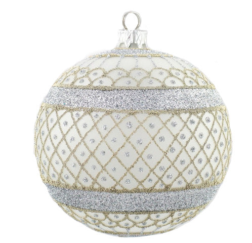 Thomas Glenn Frosted Silver Lace Mouth Blown Ornament