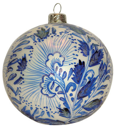Thomas Glenn Canton Blue and White Mouth Blown Ornament