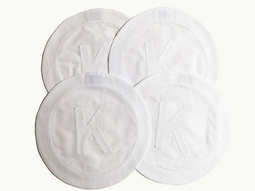 Henry Handwork Initial Linen Circle Coasters, White - Set of 4