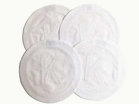 Henry Handwork Initial Linen Circle Coasters, Gray - Set of 4