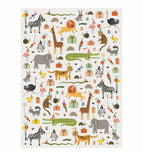 Rifle Paper Gift Wrapping Sheets, Party Animal- 1 Flat Sheet