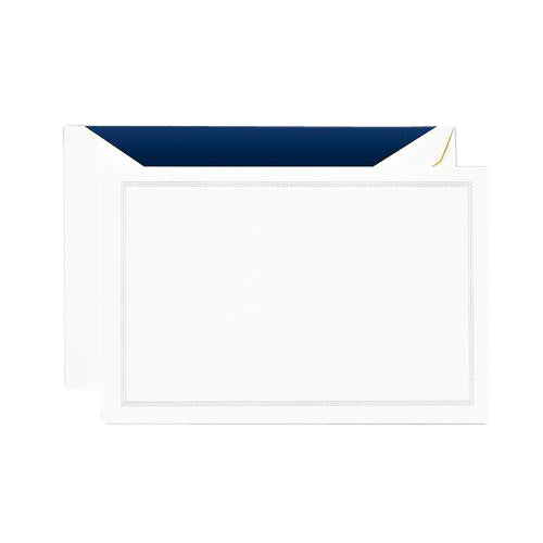 Crane and Co Navy Triple Hairline Correspondence Cards