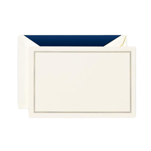 Crane and Co Regent Blue Triple Hairline Correspondence Card