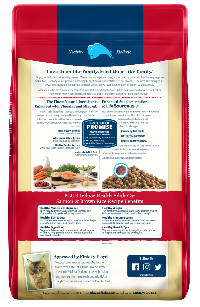 Blue Buffalo Indoor Health Salmon and Brown Rice  Adult Recipe Dry Cat Food