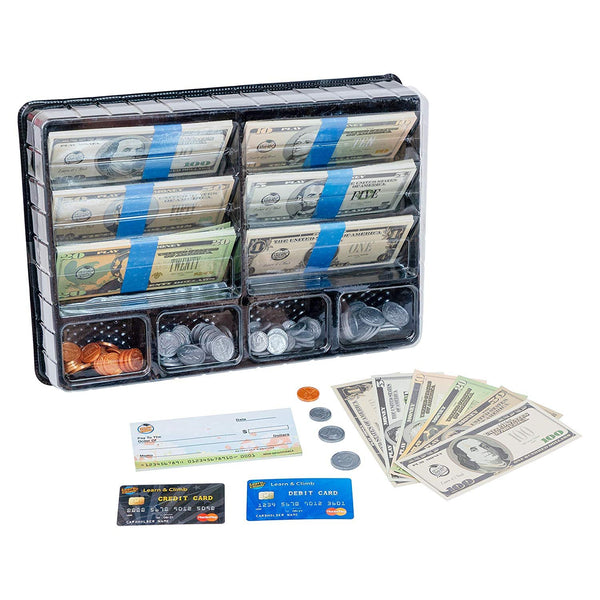 Learn & Climb - Realistic Play Money Set for Kids | Pretend Dollar Bills & Coins to Learn Cash Counting | Children's Credit & Debit Cards Plus Realistic Checkbook | Teach Real Skills While Playing!