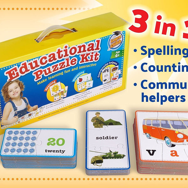 Educational Kids Puzzle Set, Spelling, Numbers, Counting & Community Helpers. 50 Pieces for Boys and Girls Preschool Children and Toddlers Ages 2, 3, 4, 5 year olds to Match Up Toys Set