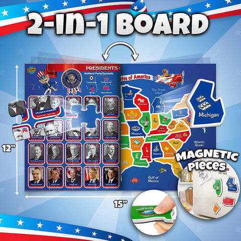Learn & Climb 2 in 1 magnetic usa puzzle