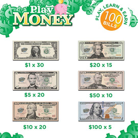 Learn & Climb Kids Play Money Plain Bills