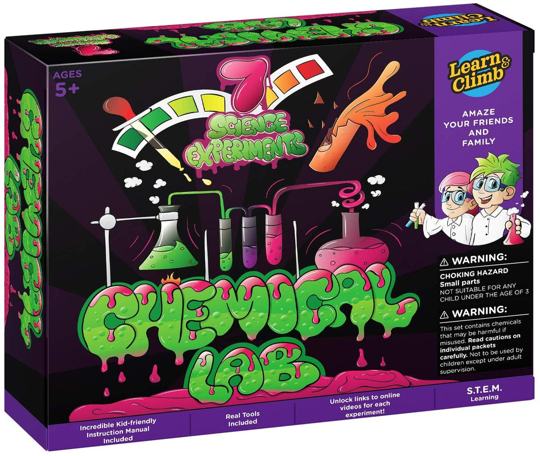 Learn & Climb - Chemical Lab Science Experiment Kit for Kids | 8 Unique Experiments & Activities Included with Full Color Educational Instruction Manual | Great Chemistry Gift for Girls & Boys 5 +
