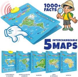 My Talking World Map Interactive Educational Maps for Kids | Geography, Facts & Fun for Children Ages 5+ | (Set of 5) Electronic Talking Posters with Over 1000 Facts & Learning Guide