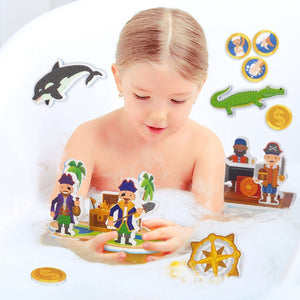 Interactive Foam bath toy for toddlers and kids- pirate bath toy for boys. 42 pieces, + bath toy organizer. Mold free
