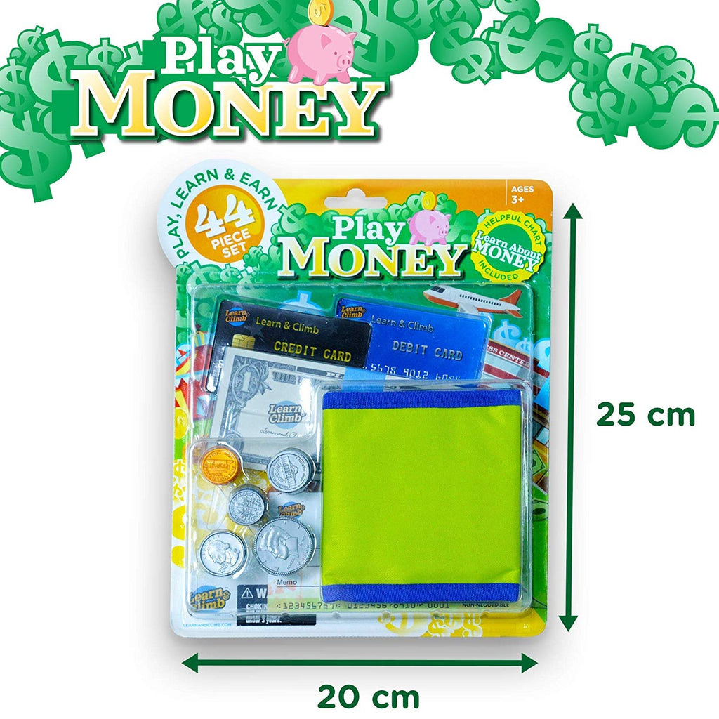 Learn & Climb Play Money Wallet kit Replica of Money and Wallet
