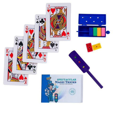 Learn & Climb - Spectacular Magic Tricks Kit | Includes Rainbow Bricks Trick, Traffic Light Trick, Set of Magical Cards & Instruction Manual | Set of 3 Unique Props for Kids to Perform 5+ Tricks