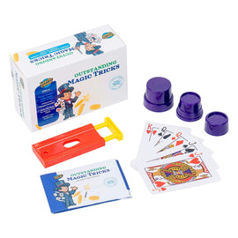 Learn & Climb - Outstanding Magic Tricks Kit | Set of 3 Unique Props for Kids to Learn & Perform 5+ Tricks | Includes Paper to Coin Trick, Finger Chopper & Set of Magical Cards | Instructions Included