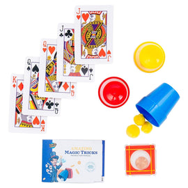 Learn & Climb - Amazing Magic Tricks Set | Kit of 3 Unique Props for Kids to Perform Tricks | Includes Cups & Balls Trick, Escaping Coin Trick, Magical Mind Reading Cards Illusion & Easy Instructions