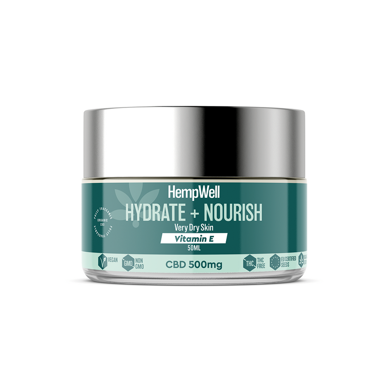 HempWell Hydrate and Nourish Vitamin E Cream | 500mg CBD | 50ml Glass Jar