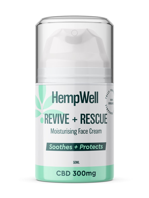 Hemp Well Rescue & Revive Face Cream : 300mg CBD : 50ml Bottle