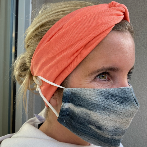 Solid Coral Button Headband-Wholesale 1