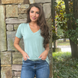 Stay Kind V Neck Tee in Mint-Wholesale 1