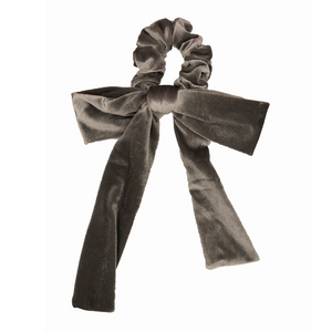 Silver Velvet Bow Scrunchie-Wholesale