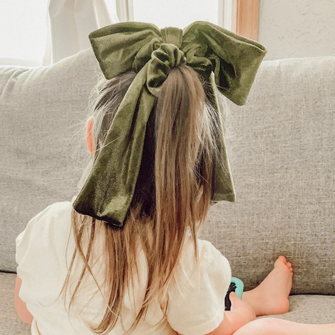 Olive Velvet Bow Tie Scrunchie Little Girl