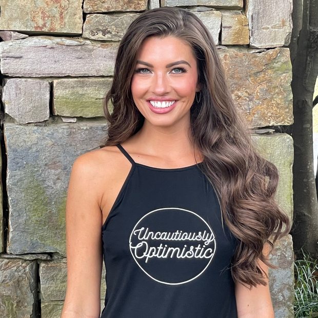 Uncausiously Optimistic Tank in Black-Wholesale 1