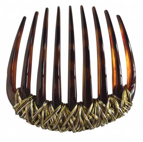Green / Gold wire wave tortoise comb.