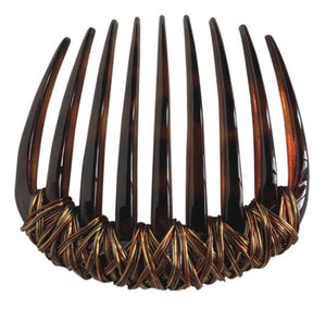 Brown / Gold wire wave tortoise comb.