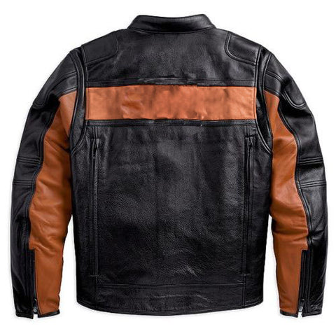 [ 50% OFF ] EXCLUSIVE MEN'S BIKER CLASSIC BLACK/ORANGE GENUINE LEATHER JACKET - FREE SHIPPING - AXEOP