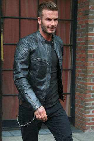 [ 50% OFF ] DAVID BECKHAM BLACK LEATHER JACKET - 100% GENUINE LEATHER - AXEOP