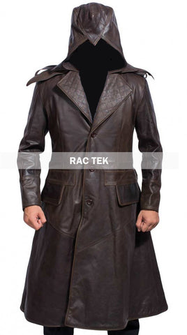[ 50% OFF ] JACOB FRYE ASSASSIN'S CREED LEATHER COAT - 100% GENUINE LEATHER - AXEOP