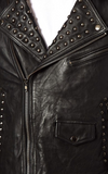 [ 50% OFF ] ROCK N ROLL STUDDED LEATHER JACKET WITH PRINTED DETAIL - 100% GENUINE LEATHER - AXEOP