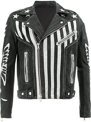 [ 50% OFF ] AMERICAN FLAG LEATHER JACKET - 100% GENUINE LEATHER - AXEOP