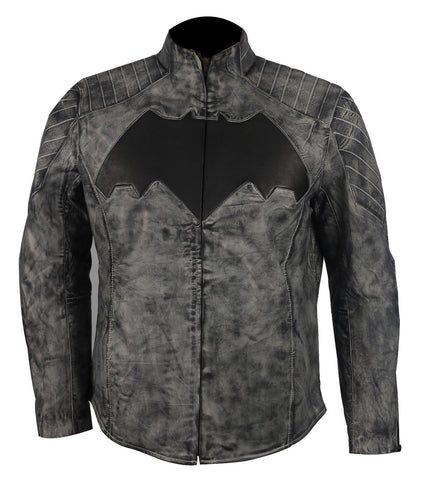 [ 50% OFF ] BATMAN WAXED LEATHER JACKET - 100% GENUINE LEATHER - AXEOP