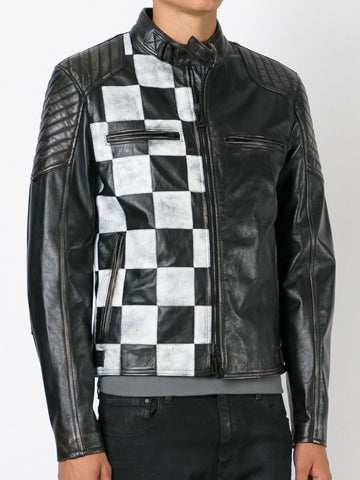 [ 50% OFF ] MEN'S CHECKERED STYLE LEATHER JACKET - 100% GENUINE LEATHER - AXEOP