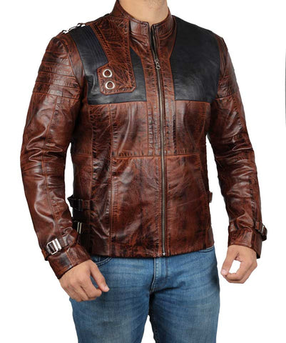 [ 50% OFF ] KRYPTON BROWN SEG EL LEATHER JACKET- 100% GENUINE LEATHER - AXEOP