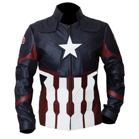 [ 50% OFF ] CAPTAIN AMERICA AVENGERS INFINITY WAR JACKET - 100% GENUINE LEATHER - AXEOP